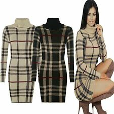 New Ladies Womens Knitted TARTAN Check POLO Neck Long Sleeves Bodycon MIDI Dress