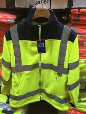 *NEW* HI VIS REFLECTIVE FLEECE JACKET S-4XL ORANGE YELLOW NAVY RAIN PATCH 22585