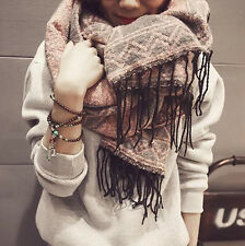 Winter Women Long Section Of Wool Knit Warm Grid Plaid Scarf Dual Thickening