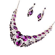 Luxury Wedding Bride Crystal Gemstone Statement Necklace Earring Jewelry Set