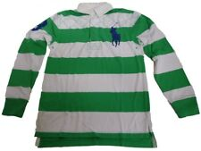 Ralph Lauren Rugby Polo Shirt Top Boys Long Sleeve L/S Green White Striped - New