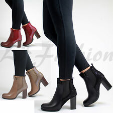 New Womens Chelsea Faux Leather Ankle Boots High Block Heel Diamante Shoes Sizes