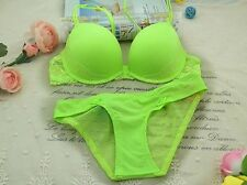 Women Ladies Sexy Green  Underwear Briefs Panties Push-up Lace Bra Set