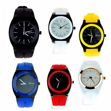 Geneva Mod Minimal Casual Fashion Silicone Band Mens Round Wrist Watch