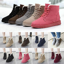 Lady Winter Boots Fur Lined Warm Flat Ankle Snow Boots Lace Up Bootie Shoes