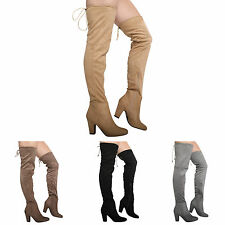 WOMENS LADIES OVER THE KNEE THIGH BLOCK HIGH HEEL ZIP STRETCH BOOTS SHOES