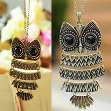 Fashion Retro Vintage Style Bronze Owl Long Chain Necklace Pendant Jewelry