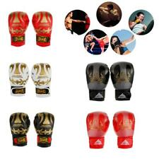 Leather Boxing Gloves MMA UFC Thai Grappling Punch Martial Art Training Mitts