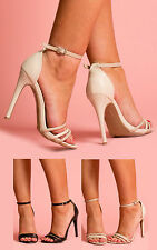 Strappy Ankle Buckle Faux Snake Skin High Heel Shoes