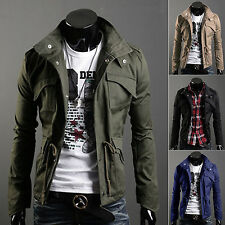 2016 Mens Button Hooded Pockets Military Slim Collar Jacket Long Coat Outerwear