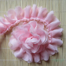 Pink Gathered Lace Edge Trim Pleated Ribbon Sewing Applique Bridal Wedding Craft