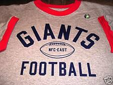 NEW YORK NY GIANTS REEBOK NFL FOOTBALL TEAM GREY RINGER T-SHIRT SHIRT NEW NICE!