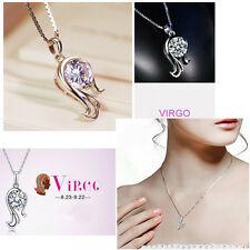 Delicate Chic Silver 12 Constellations Zodiac Shining Crystal Pendant  Necklace