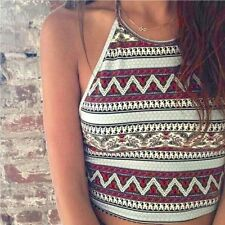 New Women Crochet Halter Crop Top Bralette Knit Cami Tank Sexy Boho Beach Vest