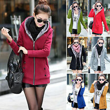 Chic Women Thicken Fleece Hooded Winter Warm Slim Coats Trench Jackets Outerwear