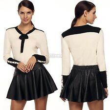 Women Casual Up Bowknot Sleeve Stretch Bottoming Shirt Blouse Tops B5UT