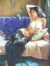 Hand Painted Portrait Oil Painting on Canvas Art Decor,Chinese wind naked women