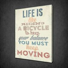 LIFE IS LIKE RIDING A BICYCLE QUOTE CANVAS WALL ART PRINT PICTURE READY TO HANG