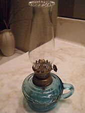 "VINTAGE MINIATURE BLUE FRUIT OIL LAMP W/BLUE  HANDLE 8"" TALL MADE HONG KONG"