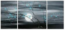 3 piece MODERN ABSTRACT HUGE WALL ART OIL PAINTING ON CANVAS,moon,plum blossom