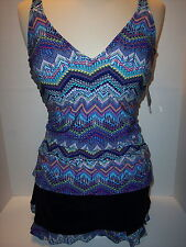 NWT Gottex Profile Size 36D Tankini + Size 10 Skirted Brief Swimsuit Skyline