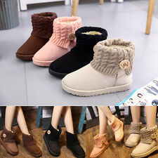 Women Suede Knit Thicken Ankle Snow Boot Winter Wool Short Booties Warm Shoes US