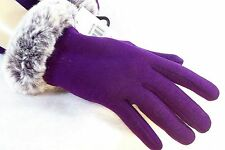 Women's  Winter Gloves Faux Fur Cuff & Lined Form Fitting Dressy Winter Gloves