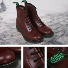 Solovair Hi Shine Leather 8 Eyelet Derby Lace Up Boot Oxblood