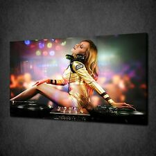 SEXY DJ GIRL MUSIC DISCO MODERN CANVAS WALL ART PRINT PICTURE READY TO HANG