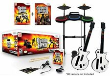 Wii/Wii-U Guitar Hero 3 & World Tour Band 2 GUITARS & 2 Games Drums Mic nintendo