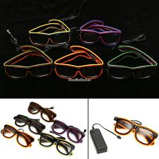 Flashing LED Luminescent Glasses Full Frame Dual Color EL Wire Sunglas Party Bar
