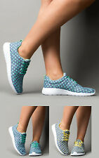 Women's Ladies Spotty Spotted Polka Dot Flat Lace-Up Trainers