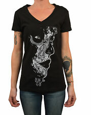 Women's Crucible by Josh Stebbins Black Mexican Sugar Skull Death Mask T-Shirt