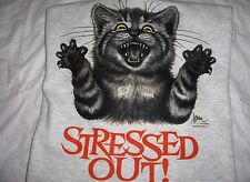 "Stressed Cat ""Stressed Out"" Gildan Cotton Blend Wht Fleece Crew Neck Sweatshirt"