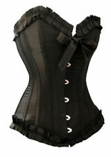 Black New Sexy Burlesque Satin Ribbon Lace up Boned Corset Bustier Lingerie
