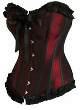 Red New Sexy Burlesque Satin Ribbon Lace up Boned Corset Bustier Lingerie