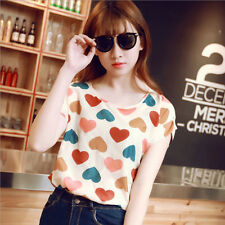 Korean Women's Short Sleeve Heart Printed Chiffon T-shirt Top Blouse Lady Shirts