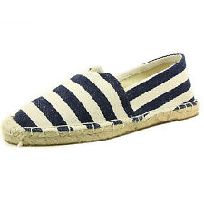 Women's Round Toe Fabric Cap Toe Stripes Espadrille Ballet Flat Shoes