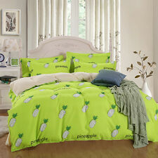 Single Queen King Size Bed Set Pillowcase Quilt Duvet Cover  Yellow Pineapple L
