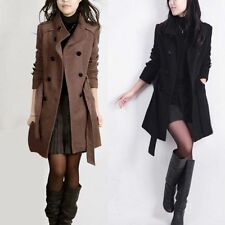 Women Girls Double-breasted Long Slim Trench Parka Coat Jacket Overcoat Outwear