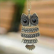 Vintage  Long Chain Silver Retro  Owl Pendant bronze  2016 New Necklace Hot