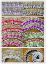 5yards 2-layer Speckle Pleated Organza Dot Lace Edge Trim Gathered Mesh Ribbon