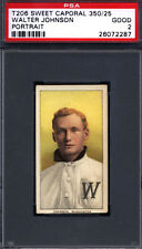 T206 Walter Johnson Portrait Washington PSA 2 Sweet Caporal Back *614375