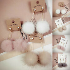 Elegant Fur Women Rhinestone Long Dangle Earrings Drop Ball Earrings Ear Jewelry