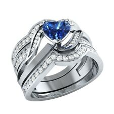 1.16 ct Blue Sapphire & White Sapphire Solid Gold Wedding Bridal Ring Set