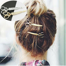2x Women Girls Gold/Silver Scissors Shape Hair Clip Hair Pin Headwear Accessorie
