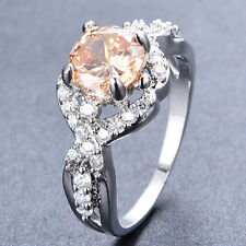 Unique Champagne Topaz Infinity Ring 10KT White Gold Filled Wedding Party Sz5-9