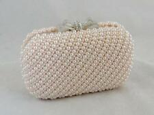 Chic Champagne Pink Encrusted Pearls Crystal Bow Wedding Evening Clutch Bag