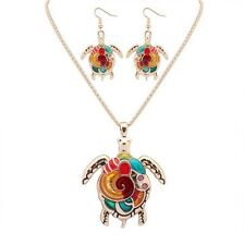 1 Set Tortoise Charm Pendant Silver Golden Enamel Necklace Earrings Jewelry Sets