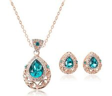 Blue Bridal Crystal Hollow Out Pendant Necklace Earrings Jewelry Sets Water Drop